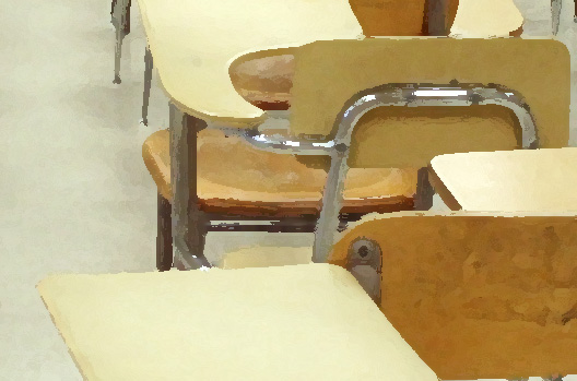 A chair in a classroom